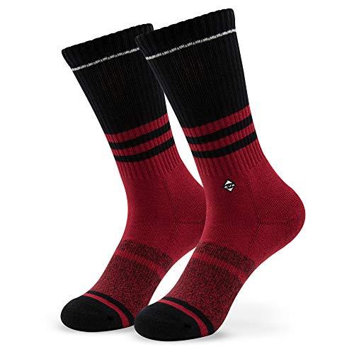 The Visionary Red | J.Clay Premium Tennissocken, Rot Retro Socken mit Streifen, Bunte Socken Old School Damen & Herren Sportsocken Größen S 35-38