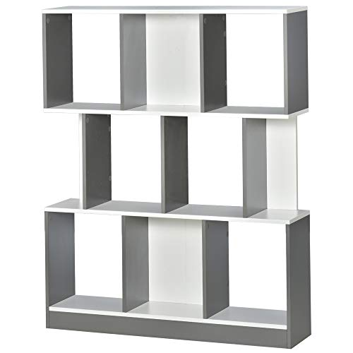 HOMCOM 3-Tier 8-Cube Home Office Display Unit Bookcase Shelving Unit Contemporary Stylish Versatile Freestanding w/Anti-Tipping Safety Grey White