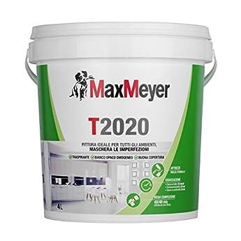 Foto di MaxMeyer T2020 - Idropittura murale, Per tutti gli ambienti, Traspirante, Bianco, 4 L