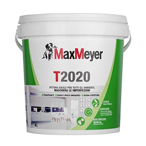 MaxMeyer T2020 - Idropittura murale, Per tutti gli ambienti, Traspirante, Bianco, 4 L