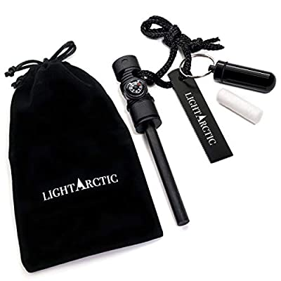 LightArctic Fire Starter Magnesium Survival Multi-Tool with Tinder. Best for Campfires, Emergency Kit, Camping and Hiking Gear. Built-in Compass and Whistle, Waterproof Aluminum Capsule, Cloth Bag by LightArctic