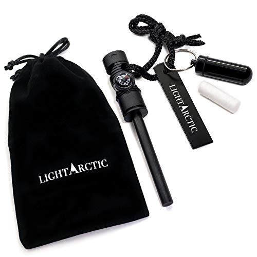 LightArctic Magnesium Fire Starter Survival Multi-Tool with Tinder. Best for Campfires, Emergency...