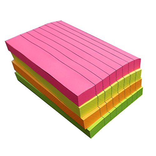 Creatiburg Lined Sticky Notes 3x5 inches 400 Sheets 100 Sheet/Pad 4 Pads/Pack 4 Bright Color Sticky Ruled Index Self-Stick Notes Easy Post Notes Individually Wrapped Office Supplies School Gifts