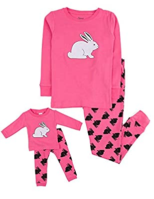 Leveret Kids & Toddler Pajamas Matching Doll & Girls Pajamas 100% Cotton (Bunny Rabbit,Size 10 Years)