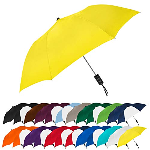 STROMBERGBRAND UMBRELLAS Spectrum Popular Style Automatic Open Close Small Light Weight Portable Compact Tiny Mini Travel Folding Umbrella for Men and Women, Yellow