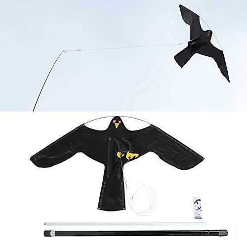 Wandisy 【𝐂𝐡𝐫𝐢𝐬𝐭𝐦𝐚𝐬 𝐆𝐢𝐟𝐭】 Vogelschutzmittel Black Bird Repeller, ausziehbarer Vogelschutzmittel Scarer Flying Hawk Kite mit 7 m Teleskopstange für Outdoor Farm