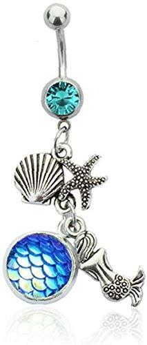 NC163 Anillo de Vientre con Diamantes de imitación con Incrustaciones de Diamantes de imitación Colgante de Sirena Anillo de Ombligo Encanto Piercing para el Cuerpo Jewelry-Style_3