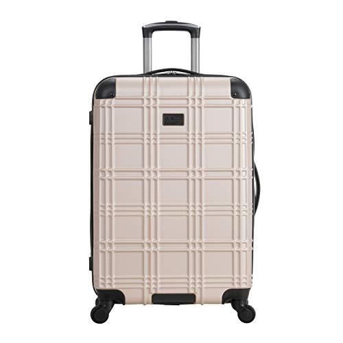 Ben Sherman Nottingham 28' Lightweight Hardside 4-Wheel Spinner Checked Size Travel Luggage, Light Gold, inch