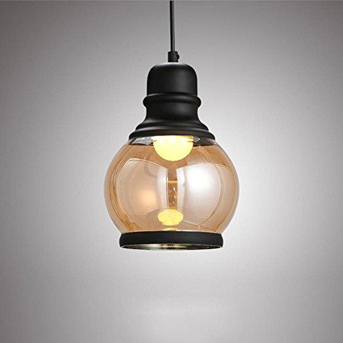Ancien Industriel Suspension Métal Plafonniers Boule rétro Transparent Abat-jour en verre Ombre Lumières pendantes Maison Décoration Éclairage Lampe suspendue Grenier Les lampes E27 Support Ø 15.1cm