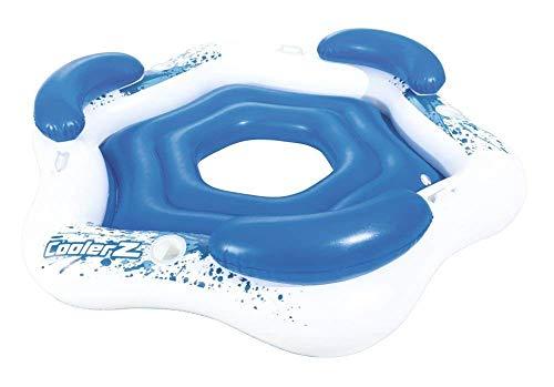 Bestway Lounge XXL 3 Personen Pool Badeinsel Ø 196cm Luftmatratze Schwimmsessel Wasserliege blau/Weiss CoolerZ Lazy