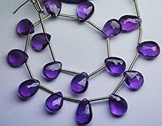 Jewel Beads Natural Beautiful jewellery 8 Inch Strand,Finest Quality,Purple Amethyst Micro Faceted Pear Shape Briolettes,8-9mm sizeCode:- JBB-37493