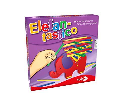 noris 606011640 Elefantastico Buntes Stapeln mit Fingerspitzengefühl Stapelspiel mit hochwertigem Holzspielmaterial, ab 3 Jahren, Mehrfarbig