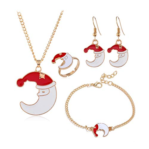 DSJTCH European and American fashion Christmas series cute cartoon drip oil christmas cap moon ear ring necklace ring ring four-piece seat cover ornament (Color : One size)
