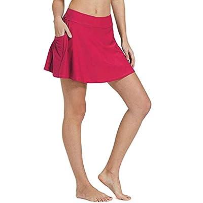 Excursion Clothing Women's High Waisted Swim Skirt Bikini Tankini Bottom A Line Swimming Skort with Side Pocket