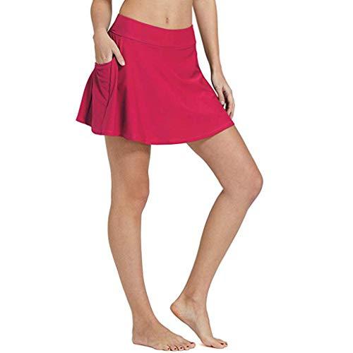Dasongff Baderock mit Innenslip in Unifarben - Urlaub Bikinirock Swimwear Tankinihose Badeshorts Badehose UV-Schutze Bikini Rock Strand Rock Mini Bikinihosen mit Tasche