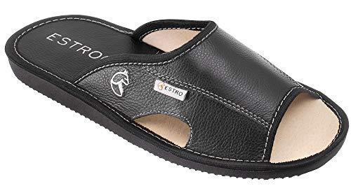 ESTRO Pantofole Ciabatte Uomo Casa Pantofola Ciabatta Vera Pelle Suola di Memoria Verano (43 EU, Nero)