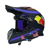 HZIH Casco De Motocross,Casco de Cross Casco Integral Moto con Auricular Bluetooth,CertificacióN ECE Off-Road Enduro Downhill Racing ATV MTB BMX Protección Cabeza Cascos Red Bull B,M=55~56cm