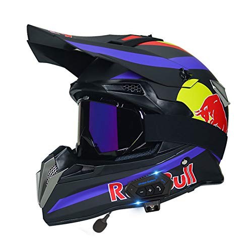 HZIH Casco De Motocross,Casco de Cross Casco Integral Moto con Auricular Bluetooth,CertificacióN ECE Off-Road Enduro Downhill Racing ATV MTB BMX Protección Cabeza Cascos Red Bull B,M=55~56cm