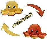 MORANGO Peluche Pulpo Reversible, Peluche de Juguete, Lindo Pulpo de Peluche, Flip Octopus Doble Cara, Juguetes Creativos, Muñeco Pulpo Doble Cara, muñeco Original de Felpa. (Amarillo-Naranja)