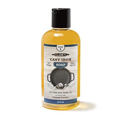 Gusseisenpfanne Seife – 354 ml von Clark's – 100 Prozent Pflanzliche Kokosnussseife - Keine Parabene oder Synthetische Schaumbildner - Für Gusseisen-Geschirr wie Gusseisen Topf – Dutch Oven Zubehör
