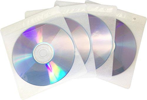 ENERGMiX 100 Doppel CD DVD Sleeves Hüllen Foliehüllen,CD Sleeves Hüllen Ringbuch für 200 CDs Weiß