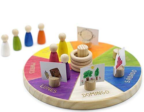 Calendario Waldorf Montessori Semanal, Juego Educativo para Niños + 3 años CASTELLANO