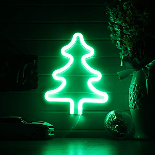 Green Tree Neon Signs,Led Neon Signs for Wall Decor, Battery or USB Operated Neon Light Sign Light Up for Kids Room,Bar,Christmas,Parties,Home(Green)