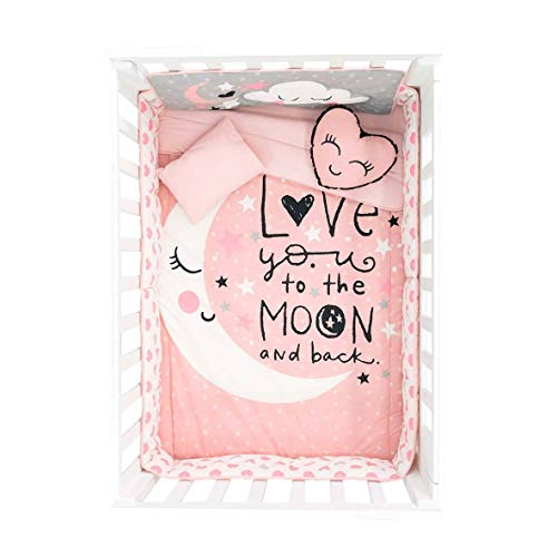 HOT Seller Moon and Stars Crib Bedding Set Nursery for Baby Shower Gift 6 PCS