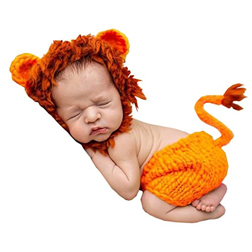Wind of Spring Newborn Baby Crochet Knitted Photo Photography Props Handmade Cute Lion Unisex Baby Hat Outfit