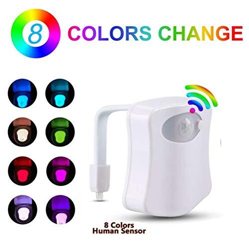 AITECH LED WC-sensor voor de badkamer aanpasbaar aan elk toilet 8 kleuren veranderende wc bewegingsmelder toilet Wc LED energie-efficiëntieklasse A+++