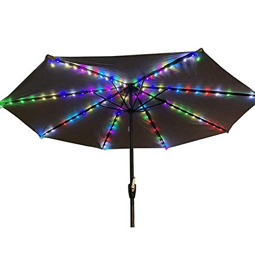 Bebliss Umbrella String Light With Clip Solar Garden Cordless Pole Solar Powered Waterproof Suitable For 7-10 Feet Umbrella Lighting Beach Party Decoration