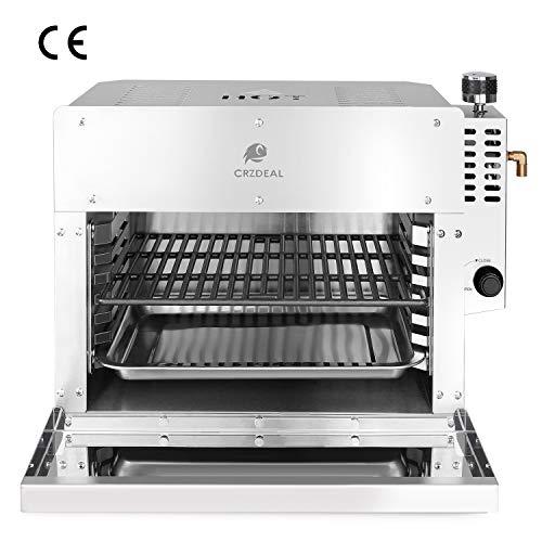 CRZDEAL 880 Grad Steak Gasgrill Mit Impulszünder Und Temperaturregler. Die Infrarot-Steakmaschine ist Mit Einem Pizzaspatel, Einem Pizzastein, Einem Grill Und Einem Tablett Ausgestattet