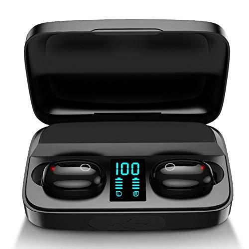 True - Auriculares inalámbricos con Bluetooth (5.0?1200 mAh, funda de carga portátil, IPX5, resistente al agua, TWS estéreo, auriculares en el oído, control táctil, para deporte (negro)