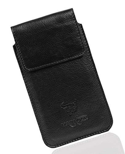 MATADOR Echt Leder-Tasche Handytasche Huawei P20 / P20 LITE / P30 / P30 LITE Gürteltasche Vertikaltasche Schwarz/Black Magnetverschluss Gürtelclip Gürtelschlaufe Schutzhülle