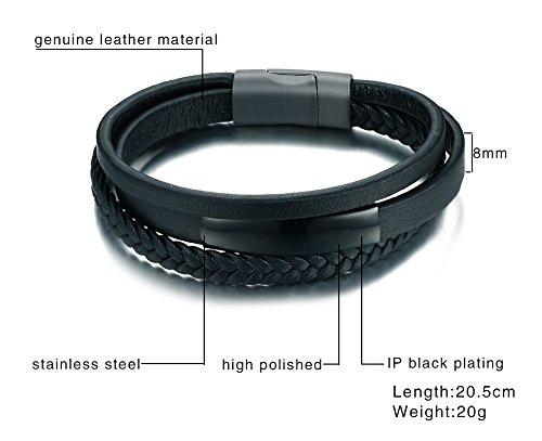 VNOX Handmade Braid Genuine Leather Bracelet 2
