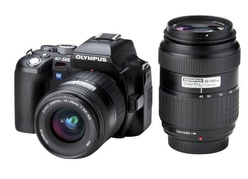 Olympus E-500 SLR-Digitalkamera (8 Megapixel) inkl. Zuiko Digital 14-45 mm und Zuiko Digital 40-150 mm