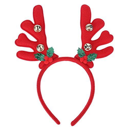 La Cabina Bandeau Noël le Serre-tête Thème Noël Bande de Cheveux Accessoire de Photographie Décoration Joli Motif Elk (rouge)