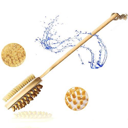 Wooden Body Brush Long Handle - Soft 2 in 1 Shower Brush | Natural Bristles Exfoliating Dry Brush | 40cm Bath Brush For Dry Skin Brushing and Back Scrubber for Shower, Cellulite Massager