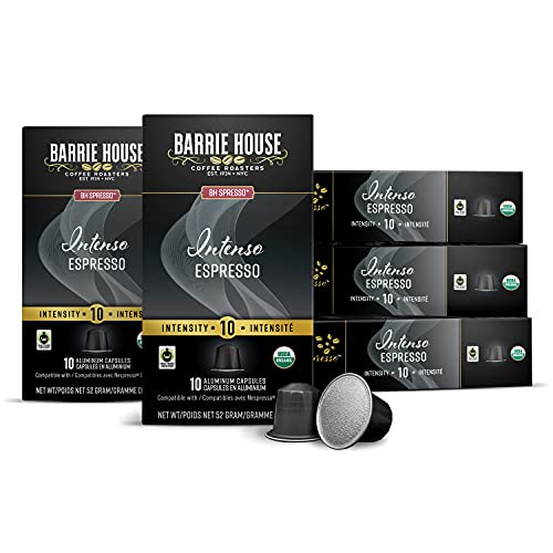 Barrie House Espresso Capsules, Intenso (50 Count)   Dark Roast   Compatible with Nespresso Original Coffee Machines   Certified Fair Trade Organic   Recyclable Aluminum Pods