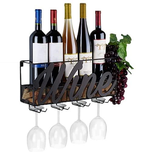 Belleashy Estante de vino 4 soportes para copas de vino de metal montado en la pared para botellas de champán estante de almacenamiento de vino organizador