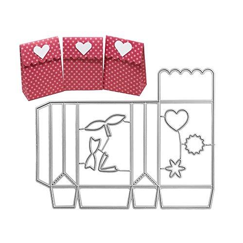 VINFUTUR Stanzschablone Box Schachtel Metall Prägeschablonen Stanzmaschine Stanzformen Embossing Schneiden Schablonen für Geschenkbox Hochzeit Süßigkeitentüte Klein Box Cutting Dies
