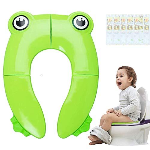 Minetom Kinder Toilettensitz Faltbarer Toilettentrainer Tragbar Reise WC Sitz Kleinkind Töpfchentrainer + 6PCS Toilette Auflage Einweg Toiletten Sitzbezug