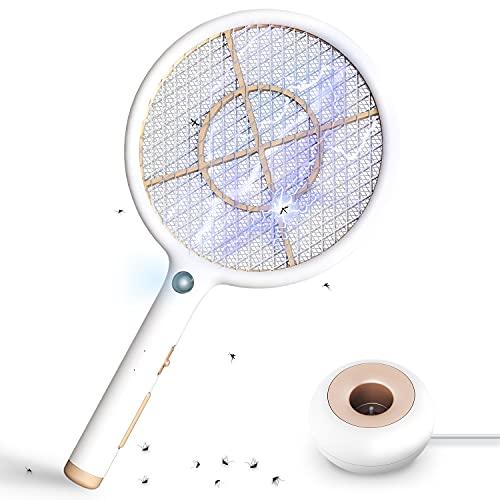 KOXXBASS Raqueta Matamoscas Eléctrica, USB Recargable Raqueta Mosquitos Electrica con Base de Carga, 4000V Antimosquitos Eléctrica Mata Mosquitos para Mosquitos, Moscas, Abejas, Uso Exterior/Interior