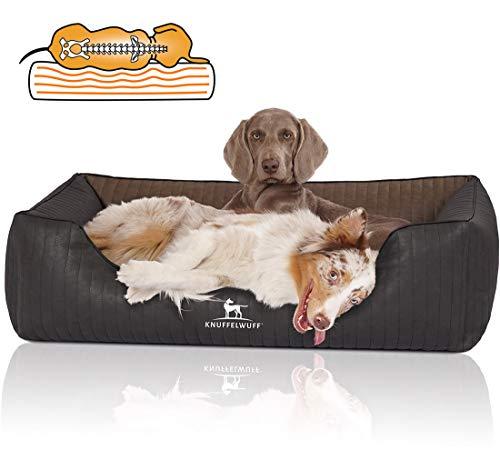 Knuffelwuff Orthopädisches Hundebett Hundekorb Hundekissen Hundekörbchen aus Kunstleder Rough Road M-L 85 x 63cm Schwarz/Braun