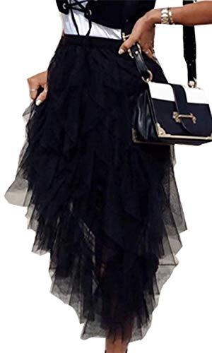Frecoccialo Falda Larga de Tutú para Mujeres Falda de Princesa Plisada de Tul Vintage Cintura Elástica de Múltiples Capas