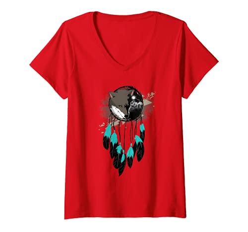 Mujer Atrapasueos, diseo de lobo indio Camiseta Cuello V