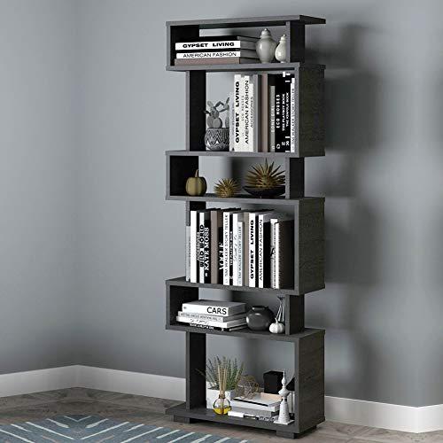 Casamudo Modern Geometric Bookcase 6-Shelves, Tall Black Book Display Shelf, Skinny Furniture for Living Room, Bedroom and Office, Vertical Standing S Shaped Wood Bookshelves (Black)