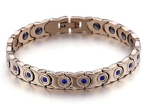 CHXISHOP Dominio de Hombres y Mujeres Pulsera de Acero de Titanio, Pulsera magnética de Acero Inoxidable con Incrustaciones de Diamante con Incrustaciones de Joyas de Acero i Blue