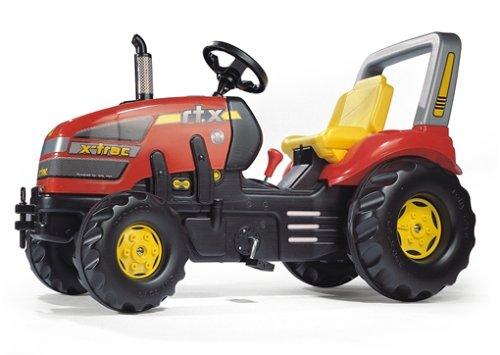 Rolly Toys 035564 x-Trac Traktor mit 2-Gangschaltung und Bremse | Trettraktor mit Überrollbügel, Sitzverstellung | Farbe rot/schwarz