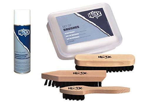 Haix® BÜRSTENSET + 1 Dose Imprägniermittel. 3 Verschiedene Bürsten aus Holz zum Reinigen, Pflegen und Polieren sowie Imprägniermittel